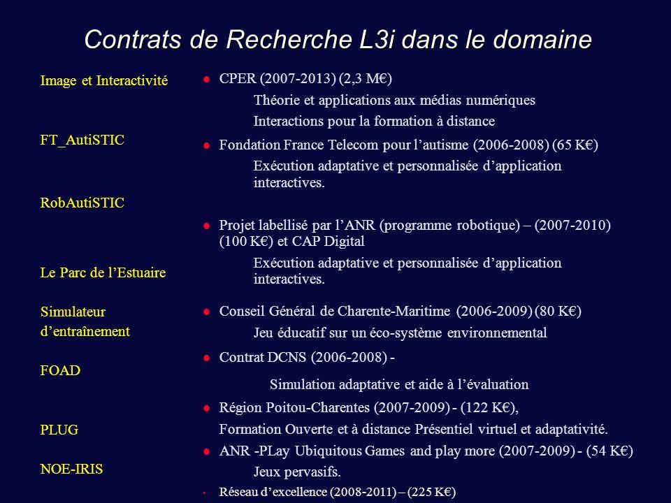 18 Contrats de Recherche L3i dans le domaine Image et Interactivité FT_AutiSTIC RobAutiSTIC Le Parc de lEstuaire Simulateur dentraînement FOAD PLUG NOE-IRIS CPER (2007-2013) (2,3 M) Théorie et applications aux médias numériques Interactions pour la formation à distance Fondation France Telecom pour lautisme (2006-2008) (65 K) Exécution adaptative et personnalisée dapplication interactives.