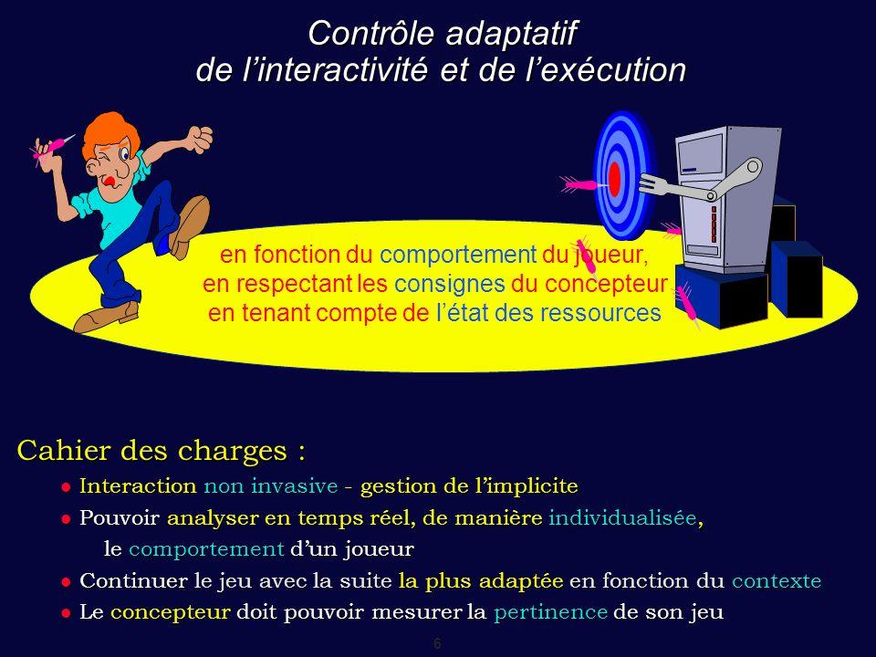 7 Contrôle adaptatif 1 2 3 4 56 Traces Trame scénaristique