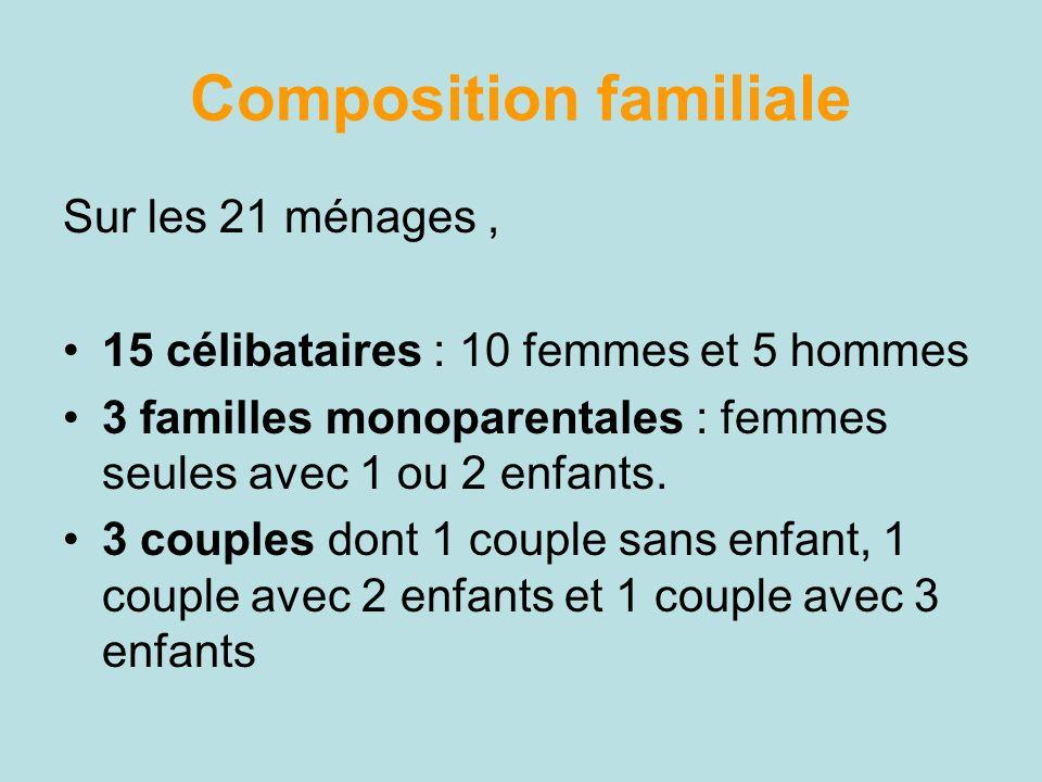 Composition familiale Sur les 21 ménages, 15 célibataires : 10 femmes et 5 hommes 3 familles monoparentales : femmes seules avec 1 ou 2 enfants. 3 cou
