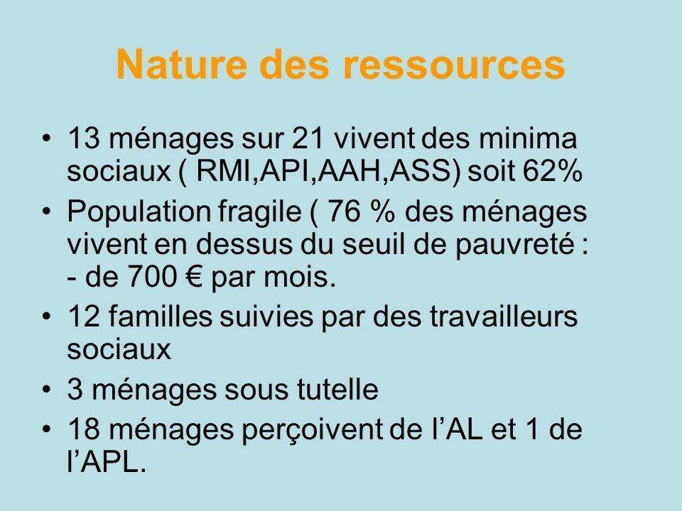 Nature des ressources 13 ménages sur 21 vivent des minima sociaux ( RMI,API,AAH,ASS) soit 62% Population fragile ( 76 % des ménages vivent en dessus d