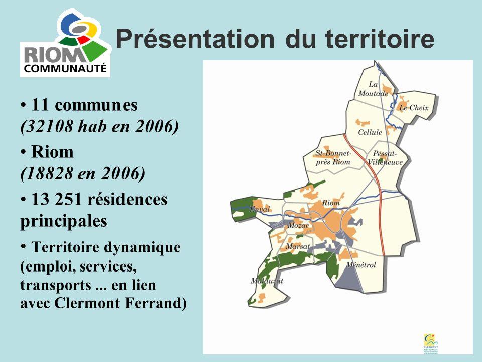 11 communes (32108 hab en 2006) Riom (18828 en 2006) 13 251 résidences principales Territoire dynamique (emploi, services, transports... en lien avec