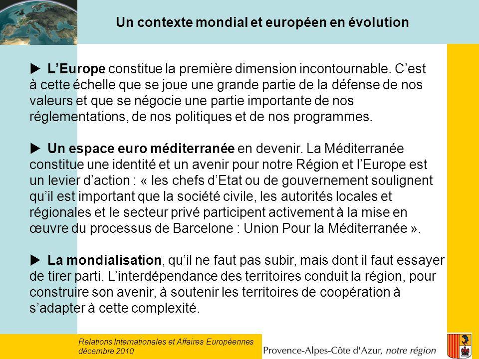 Un contexte mondial et européen en évolution LEurope constitue la première dimension incontournable.