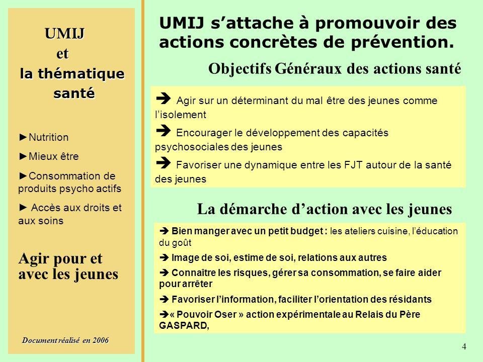 UMIJ Document réalisé en 2006 4 la thématique santé santé Nutrition Mieux être Consommation de produits psycho actifs Accès aux droits et aux soins UMIJ sattache à promouvoir des actions concrètes de prévention.