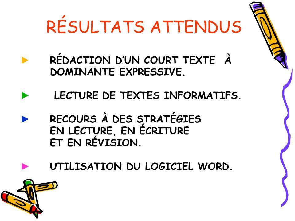 RÉSULTATS ATTENDUS RÉDACTION DUN COURT TEXTE À DOMINANTE EXPRESSIVE.
