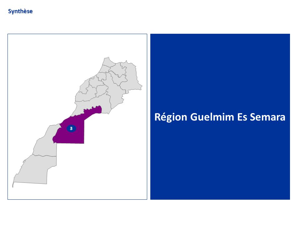 La Région Guelmim Es Semara Chiffres clés Synthèse globale de lanalyse de la région Guelmim Es Semara n Superficie de la région : 142 729 km² soit 20% du territoire national n Découpage administratif : 5 provinces (Es-Smara; Tata; Assa-Zag; Tan Tan et Guelmim) n Nombre dhabitants : 0,46 millions dhabitants, soit 2% de la population nationale n Taux dactivité : 43,9 % n Taux de chômage : 19,1% n Nombre de lits hôteliers classés (08) : 1 038 soit 1% de la capacité nationale n Nombre de nuitées*(08) : 19 937, soit 0,1% des nuitées réalisées au niveau national Source : RGPH 2004, Annuaire statistique 2008 * en hébergement classé
