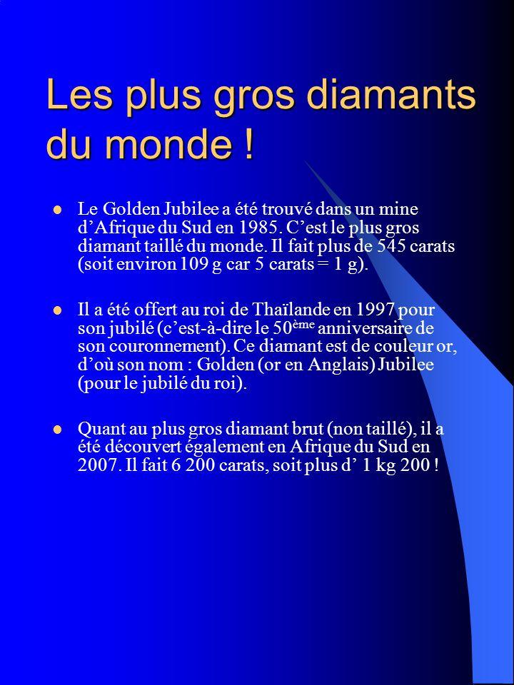 Les plus gros diamants du monde ! Le Golden Jubilee a été trouvé dans un mine dAfrique du Sud en 1985. Cest le plus gros diamant taillé du monde. Il f