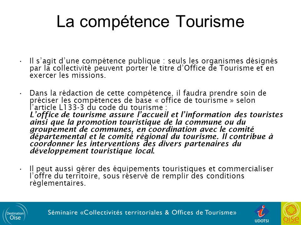 La compétence Tourisme Il sagit dune compétence publique : seuls les organismes désignés par la collectivité peuvent porter le titre dOffice de Tourisme et en exercer les missions.