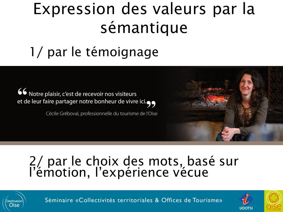 Expression des valeurs par la sémantique 1/ par le témoignage 2/ par le choix des mots, basé sur lémotion, lexpérience vécue