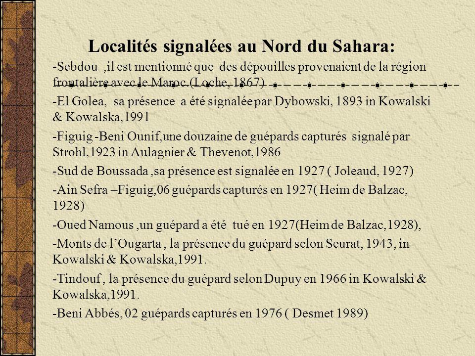 -Sebdou,il est mentionné que des dépouilles provenaient de la région frontalière avec le Maroc.(Loche, 1867) -El Golea, sa présence a été signalée par