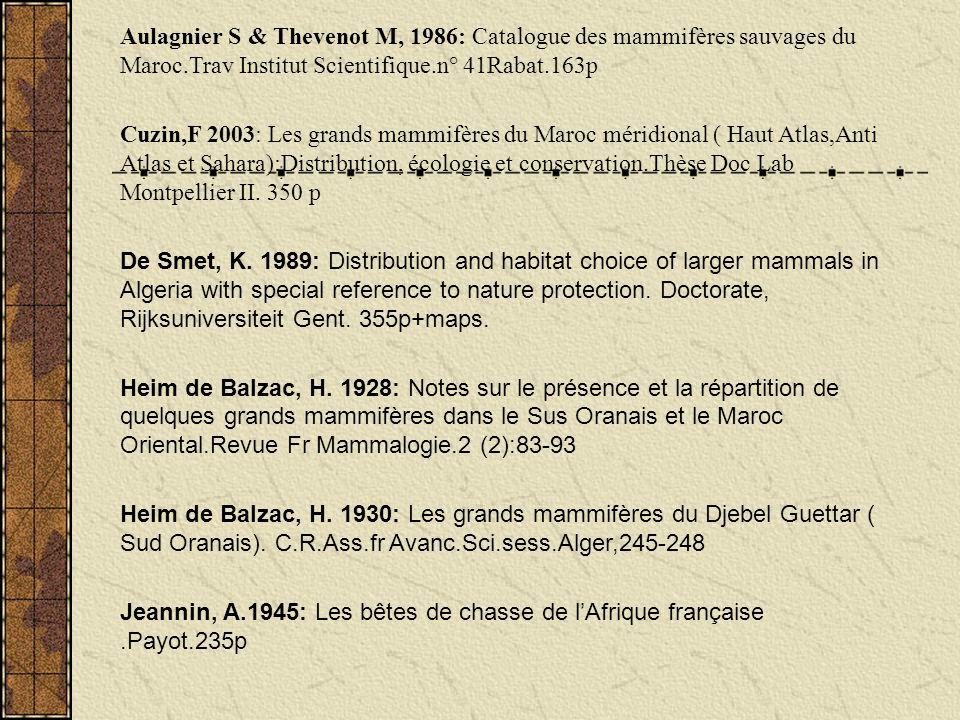 Aulagnier S & Thevenot M, 1986: Catalogue des mammifères sauvages du Maroc.Trav Institut Scientifique.n° 41Rabat.163p Cuzin,F 2003: Les grands mammifè