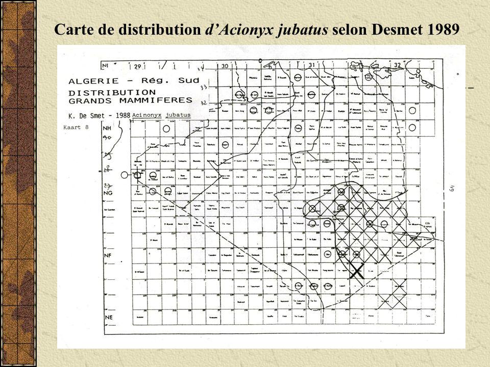 Carte de distribution dAcionyx jubatus selon Kowalski & Kowalska, 1991