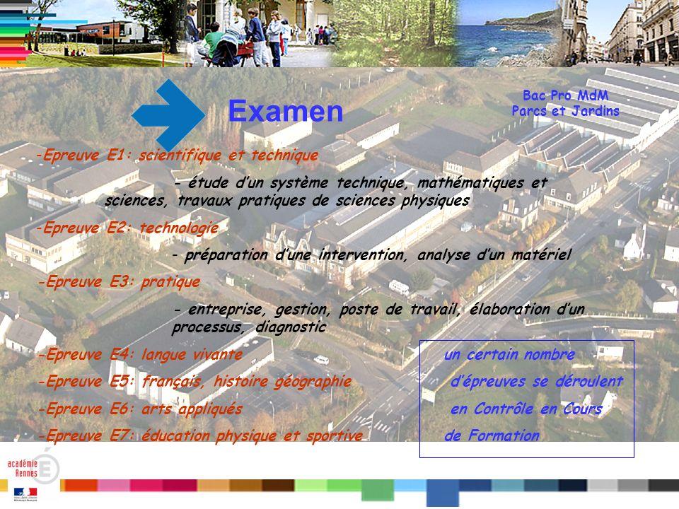 Titre Bac Pro MdM Parcs et Jardins Examen -Epreuve E1: scientifique et technique - étude dun système technique, mathématiques et sciences, travaux pra