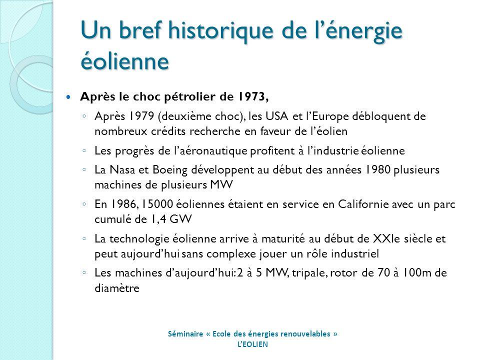 Un bref historique de lénergie éolienne Séminaire « Ecole des énergies renouvelables » LEOLIEN Après le choc pétrolier de 1973, Après 1979 (deuxième choc), les USA et lEurope débloquent de nombreux crédits recherche en faveur de léolien Les progrès de laéronautique profitent à lindustrie éolienne La Nasa et Boeing développent au début des années 1980 plusieurs machines de plusieurs MW En 1986, 15000 éoliennes étaient en service en Californie avec un parc cumulé de 1,4 GW La technologie éolienne arrive à maturité au début de XXIe siècle et peut aujourdhui sans complexe jouer un rôle industriel Les machines daujourdhui: 2 à 5 MW, tripale, rotor de 70 à 100m de diamètre