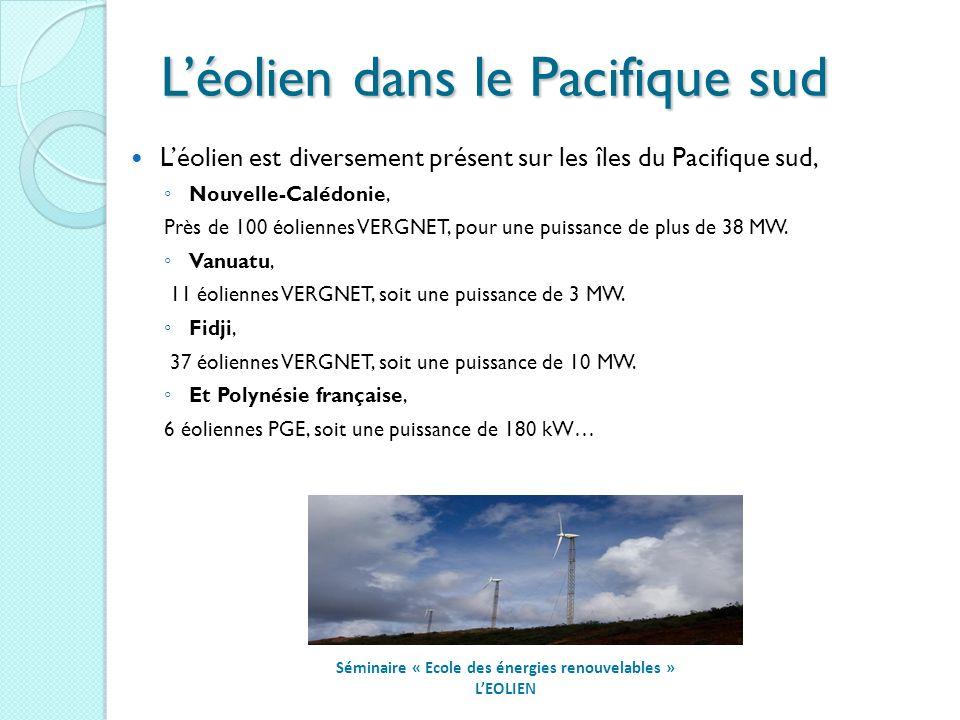 Léolien dans le Pacifique sud Séminaire « Ecole des énergies renouvelables » LEOLIEN Léolien est diversement présent sur les îles du Pacifique sud, Nouvelle-Calédonie, Près de 100 éoliennes VERGNET, pour une puissance de plus de 38 MW.