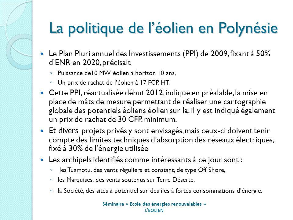 La politique de léolien en Polynésie Séminaire « Ecole des énergies renouvelables » LEOLIEN Le Plan Pluri annuel des Investissements (PPI) de 2009, fixant à 50% dENR en 2020, précisait Puissance de10 MW éolien à horizon 10 ans, Un prix de rachat de léolien à 17 FCP.