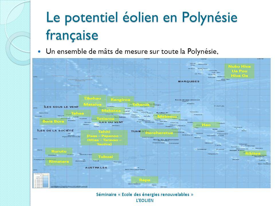 Le potentiel éolien en Polynésie française Séminaire « Ecole des énergies renouvelables » LEOLIEN Un ensemble de mâts de mesure sur toute la Polynésie,