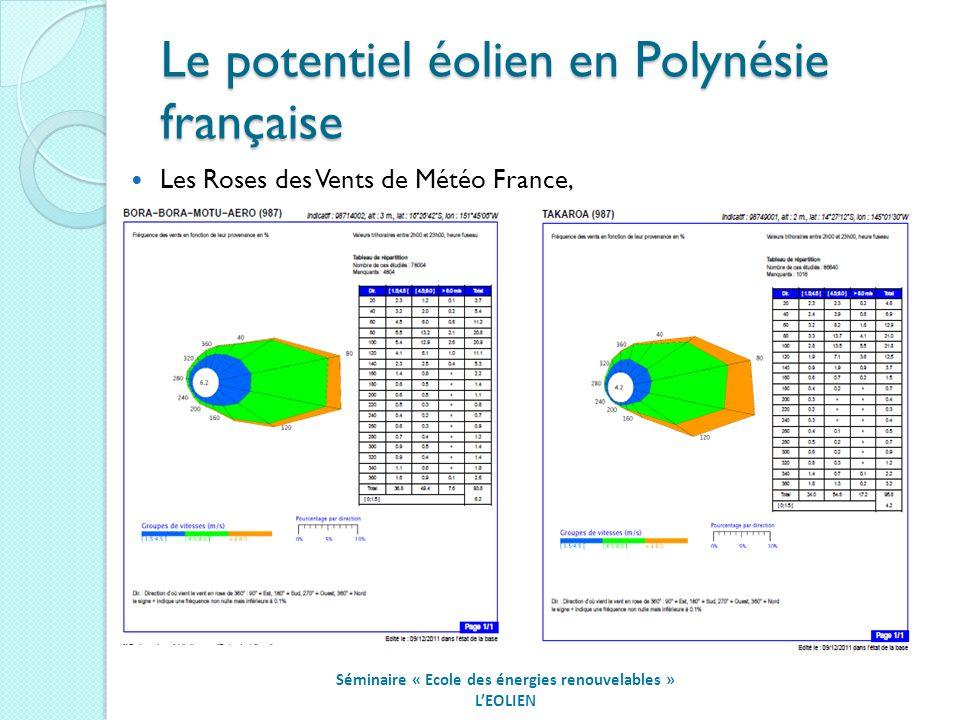 Le potentiel éolien en Polynésie française Séminaire « Ecole des énergies renouvelables » LEOLIEN Les Roses des Vents de Météo France,