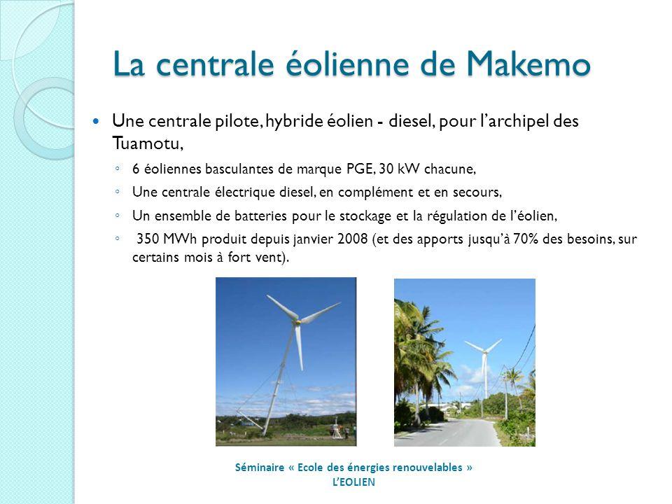 La centrale éolienne de Makemo Séminaire « Ecole des énergies renouvelables » LEOLIEN Une centrale pilote, hybride éolien - diesel, pour larchipel des Tuamotu, 6 éoliennes basculantes de marque PGE, 30 kW chacune, Une centrale électrique diesel, en complément et en secours, Un ensemble de batteries pour le stockage et la régulation de léolien, 350 MWh produit depuis janvier 2008 (et des apports jusquà 70% des besoins, sur certains mois à fort vent).