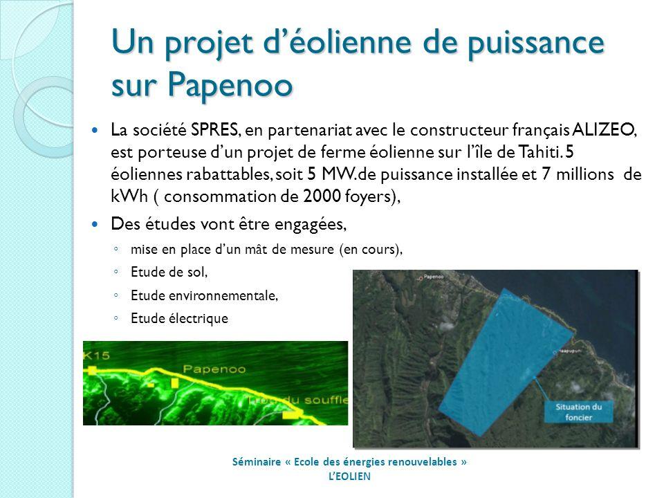 Un projet déolienne de puissance sur Papenoo Séminaire « Ecole des énergies renouvelables » LEOLIEN La société SPRES, en partenariat avec le constructeur français ALIZEO, est porteuse dun projet de ferme éolienne sur lîle de Tahiti.