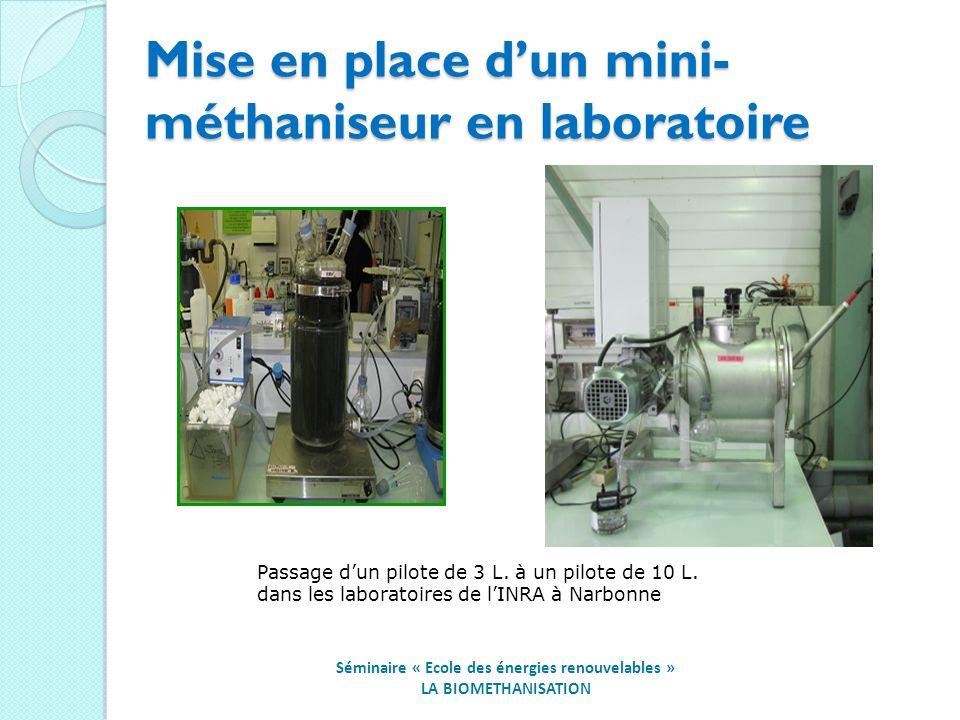 Mise en place dun mini- méthaniseur en laboratoire Passage dun pilote de 3 L.