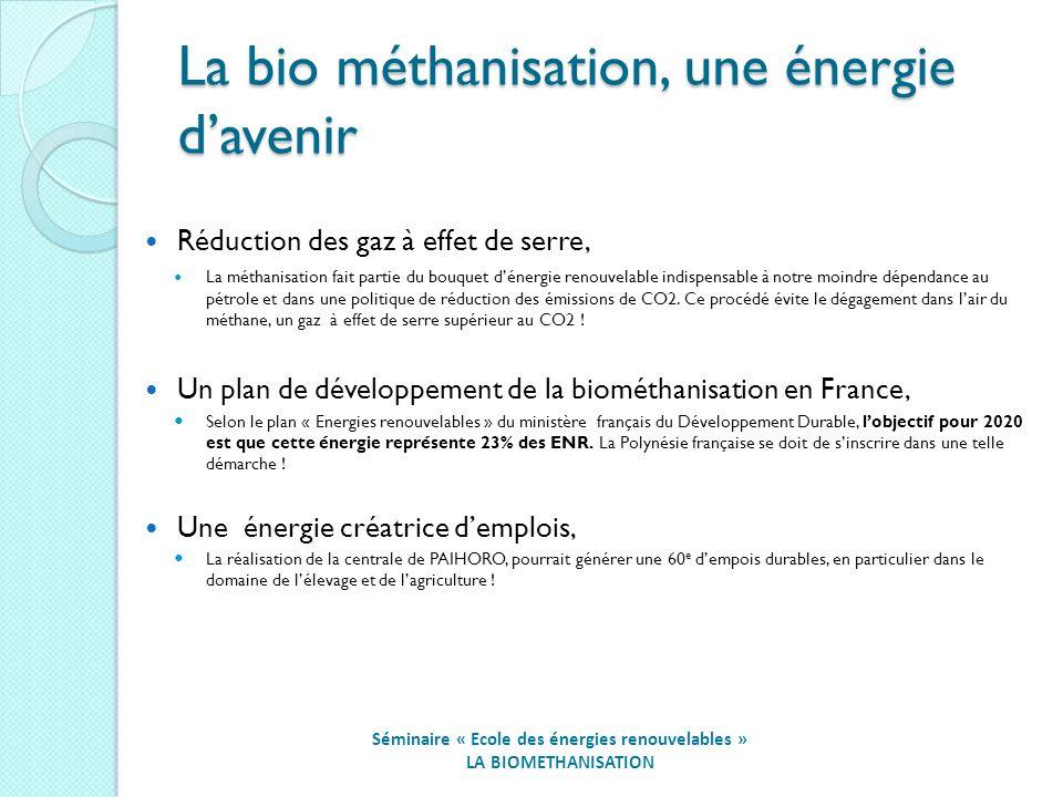 La bio méthanisation, une énergie davenir Séminaire « Ecole des énergies renouvelables » LA BIOMETHANISATION Réduction des gaz à effet de serre, La méthanisation fait partie du bouquet dénergie renouvelable indispensable à notre moindre dépendance au pétrole et dans une politique de réduction des émissions de CO2.
