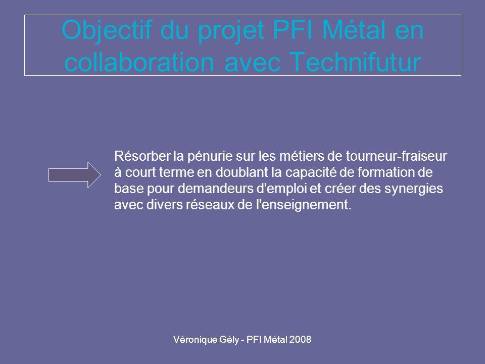 Véronique Gély - PFI Métal 2008 Objectif du projet PFI Métal en collaboration avec Technifutur Résorber la pénurie sur les métiers de tourneur-fraiseu