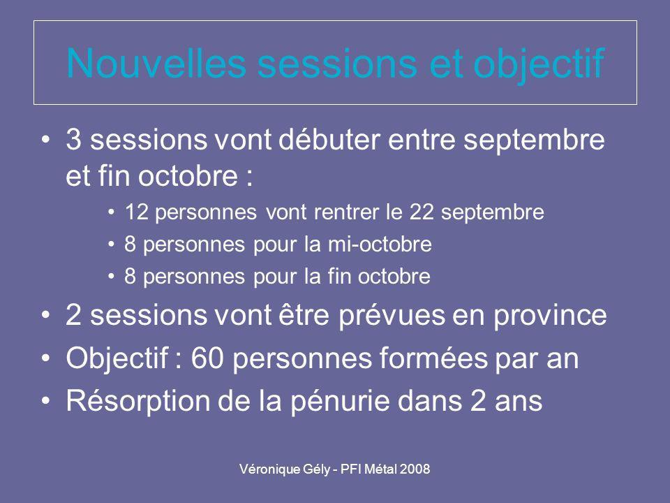 Véronique Gély - PFI Métal 2008 Nouvelles sessions et objectif 3 sessions vont débuter entre septembre et fin octobre : 12 personnes vont rentrer le 2