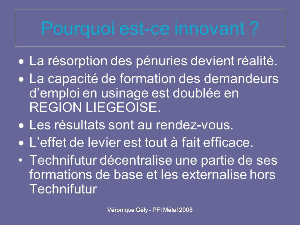 Véronique Gély - PFI Métal 2008 Pourquoi est-ce innovant ? La résorption des pénuries devient réalité. La capacité de formation des demandeurs demploi