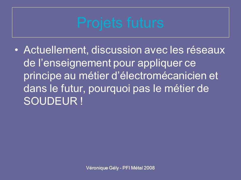 Véronique Gély - PFI Métal 2008 Projets futurs Actuellement, discussion avec les réseaux de lenseignement pour appliquer ce principe au métier délectr