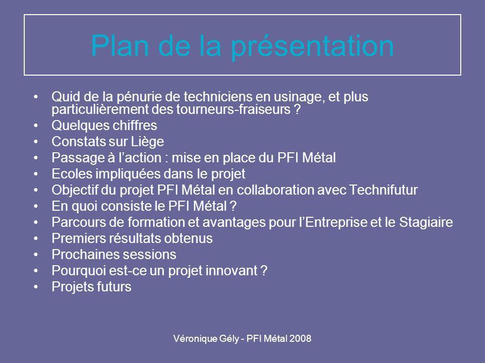 Véronique Gély - PFI Métal 2008 Plan de la présentation Quid de la pénurie de techniciens en usinage, et plus particulièrement des tourneurs-fraiseurs