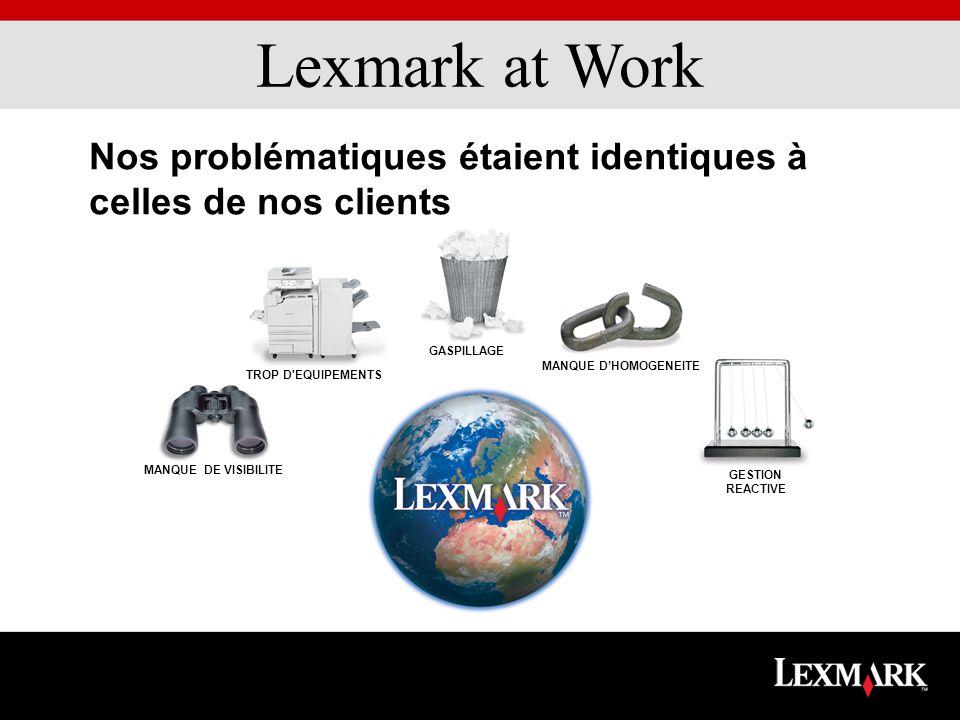 Lexmark at Work MANQUE DE VISIBILITE GESTION REACTIVE TROP D EQUIPEMENTS GASPILLAGE MANQUE DHOMOGENEITE Nos problématiques étaient identiques à celles de nos clients