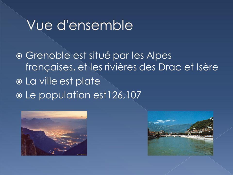 Grenoble est situé par les Alpes françaises, et les rivières des Drac et Isère La ville est plate Le population est126,107