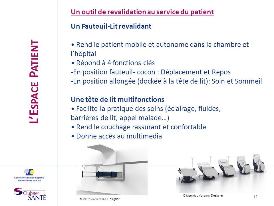 Un outil de revalidation au service du patient Un Fauteuil-Lit revalidant Rend le patient mobile et autonome dans la chambre et lhôpital Répond à 4 fo