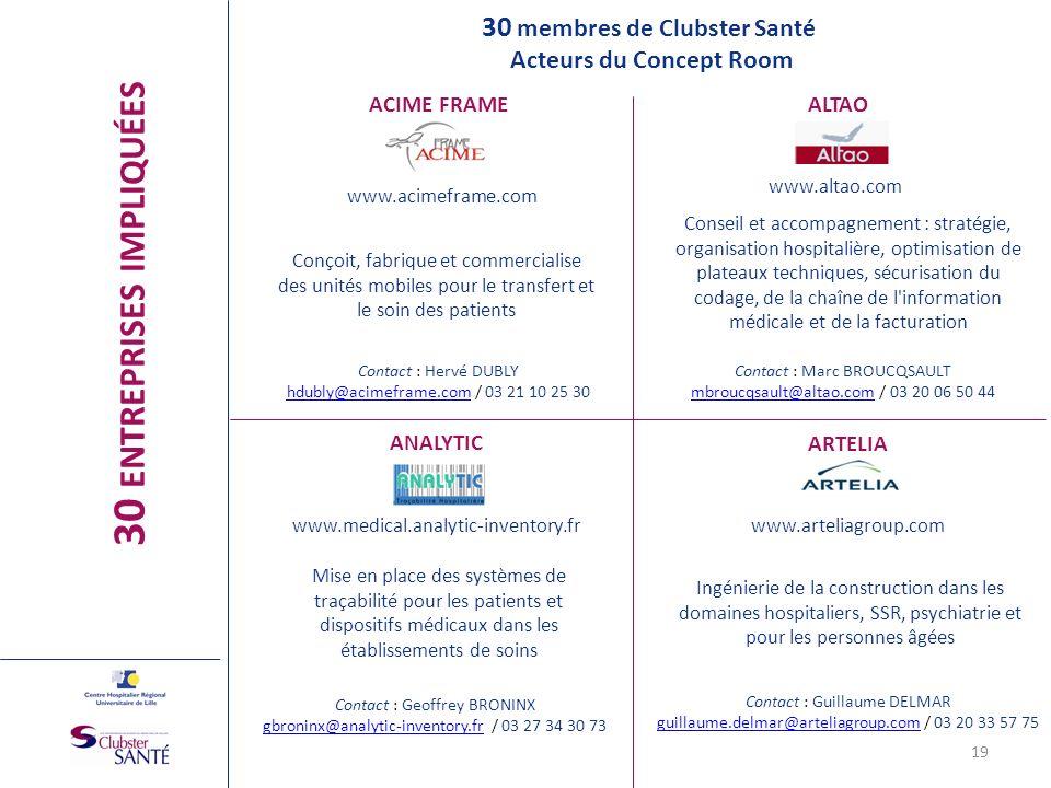 ACIME FRAME www.acimeframe.com Conçoit, fabrique et commercialise des unités mobiles pour le transfert et le soin des patients ALTAO www.altao.com Con