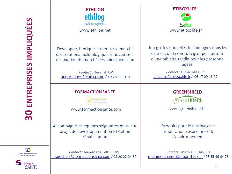 ETHILOG www.ethilog.net Développe, fabrique et met sur le marché des solutions technologiques innovantes à destination du marché des soins médicaux 22