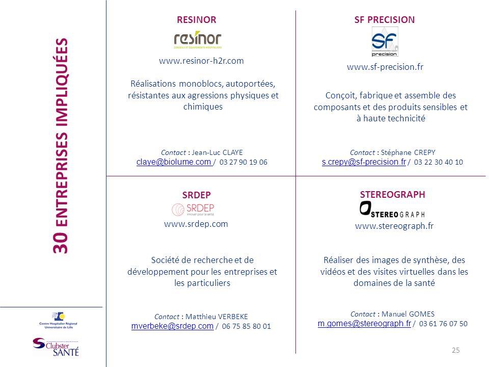 RESINOR www.resinor-h2r.com Réalisations monoblocs, autoportées, résistantes aux agressions physiques et chimiques 25 SF PRECISION www.sf-precision.fr