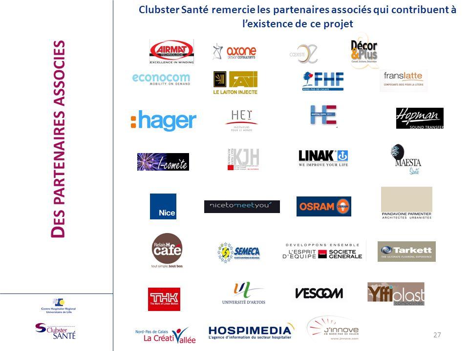 D ES PARTENAIRES ASSOCIES Clubster Santé remercie les partenaires associés qui contribuent à lexistence de ce projet 27