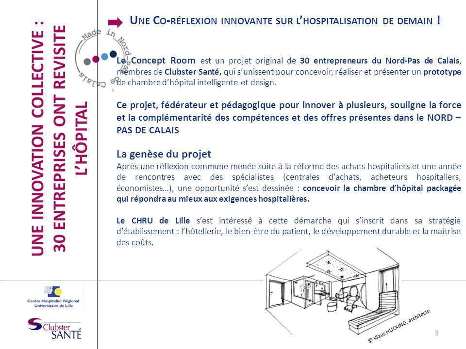 UNE INNOVATION COLLECTIVE : 30 ENTREPRISES ONT REVISITE LHÔPITAL Le Concept Room est un projet original de 30 entrepreneurs du Nord-Pas de Calais, mem