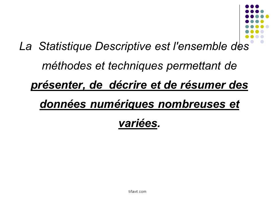 La Statistique Descriptive est l'ensemble des méthodes et techniques permettant de présenter, de décrire et de résumer des données numériques nombreus