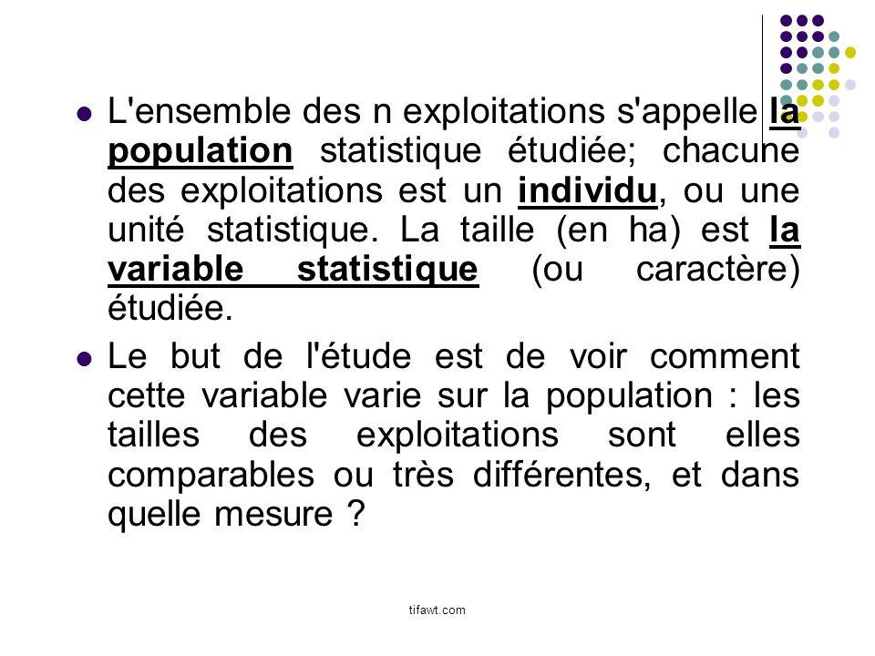 L'ensemble des n exploitations s'appelle la population statistique étudiée; chacune des exploitations est un individu, ou une unité statistique. La ta