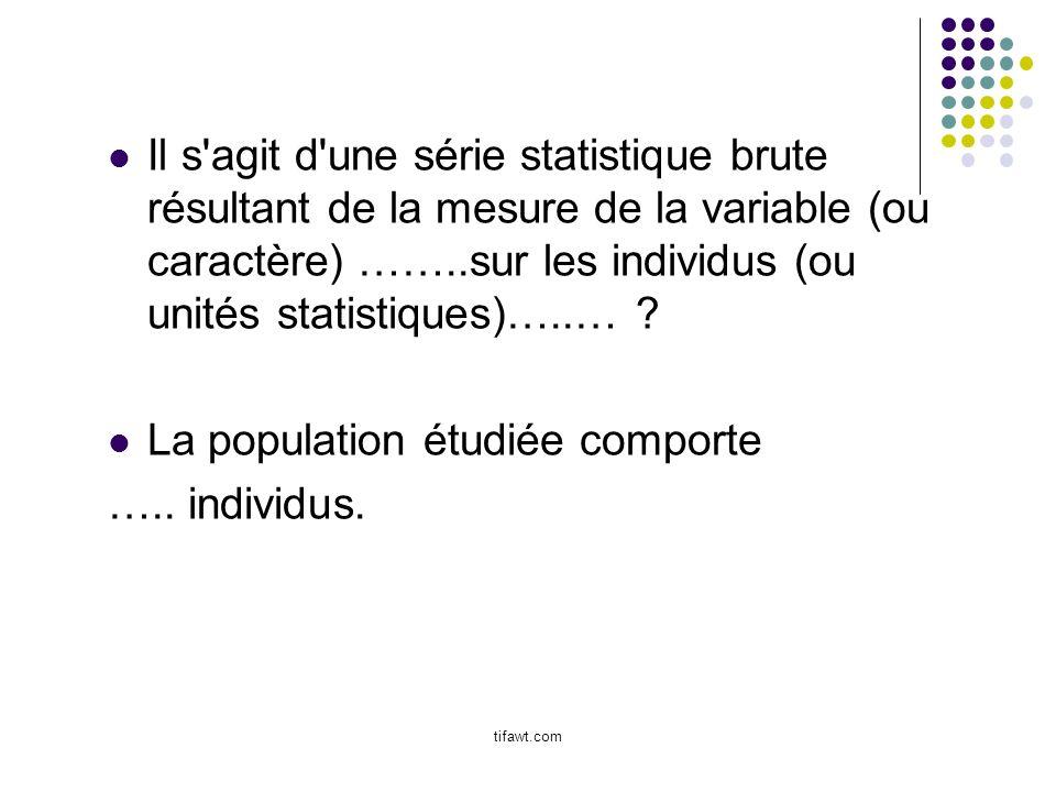 Il s'agit d'une série statistique brute résultant de la mesure de la variable (ou caractère) ……..sur les individus (ou unités statistiques)…..… ? La p