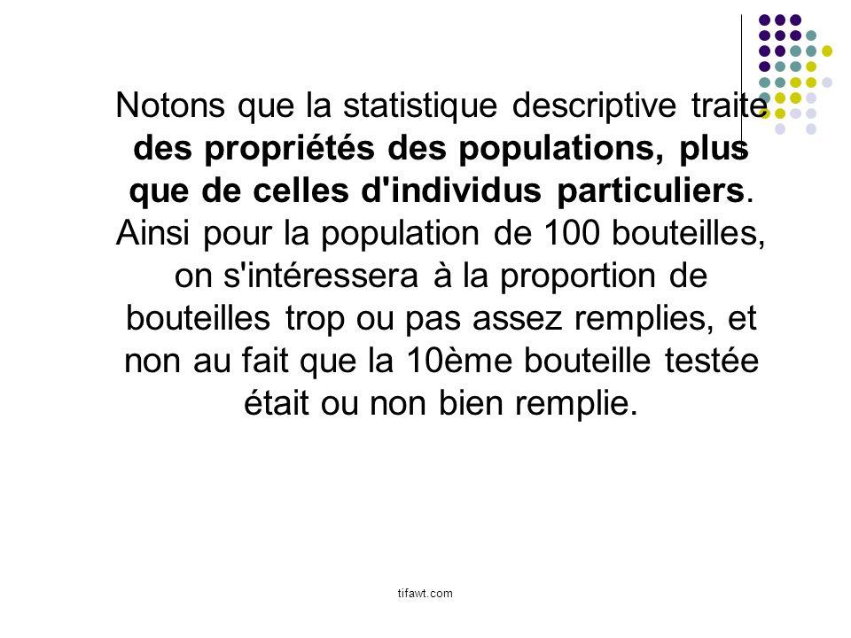 Notons que la statistique descriptive traite des propriétés des populations, plus que de celles d'individus particuliers. Ainsi pour la population de