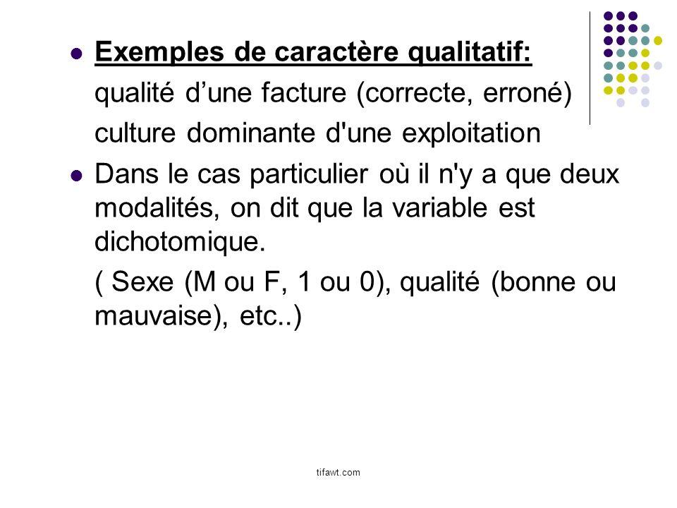 Exemples de caractère qualitatif: qualité dune facture (correcte, erroné) culture dominante d'une exploitation Dans le cas particulier où il n'y a que