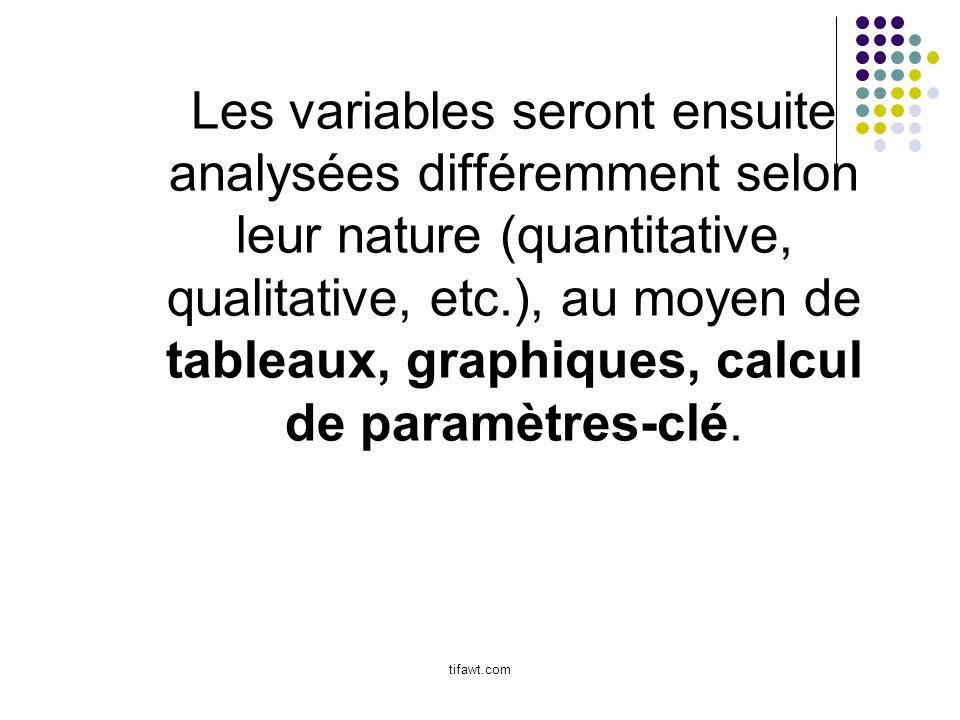 Les variables seront ensuite analysées différemment selon leur nature (quantitative, qualitative, etc.), au moyen de tableaux, graphiques, calcul de p
