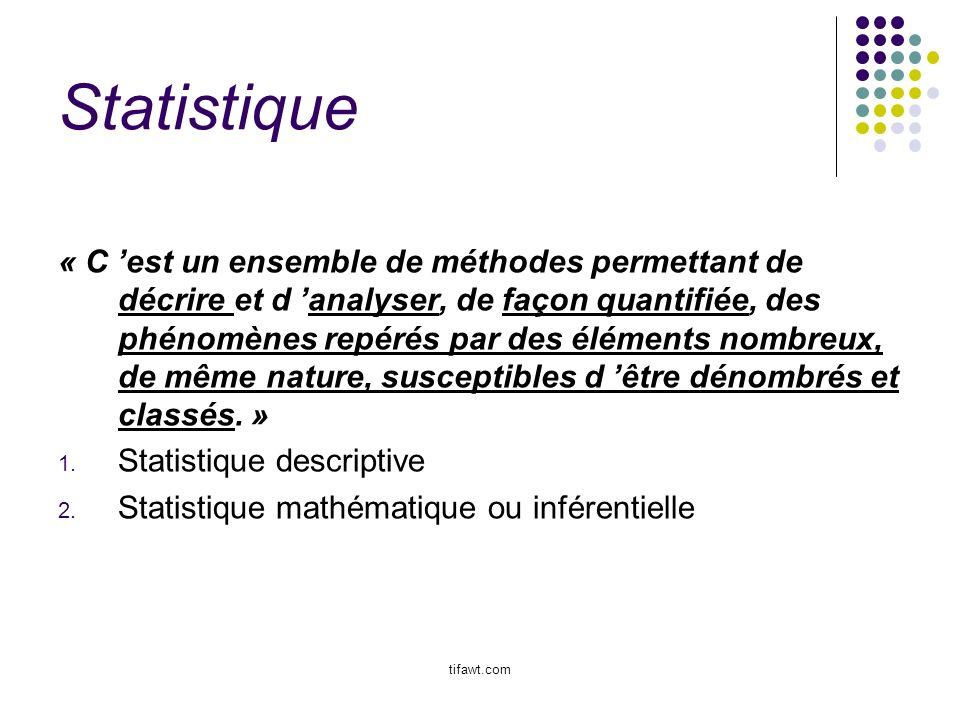 Statistique « C est un ensemble de méthodes permettant de décrire et d analyser, de façon quantifiée, des phénomènes repérés par des éléments nombreux