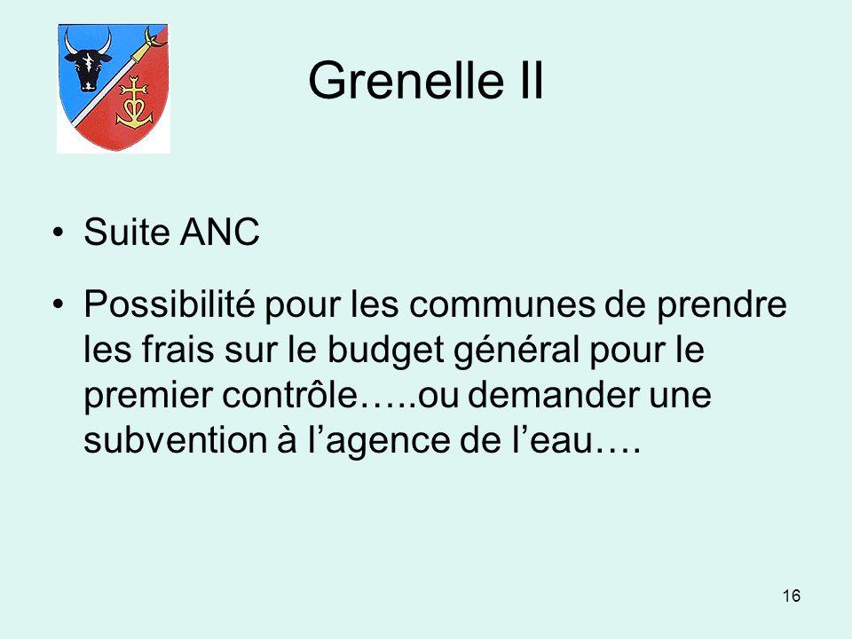 16 Grenelle II Suite ANC Possibilité pour les communes de prendre les frais sur le budget général pour le premier contrôle…..ou demander une subventio