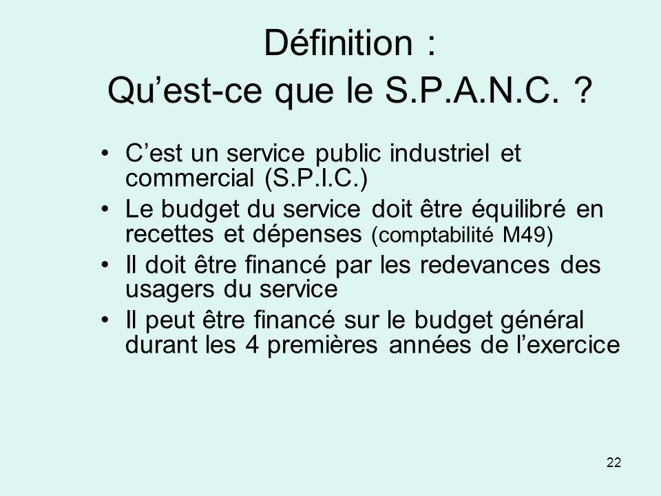 22 Définition : Quest-ce que le S.P.A.N.C. ? Cest un service public industriel et commercial (S.P.I.C.) Le budget du service doit être équilibré en re