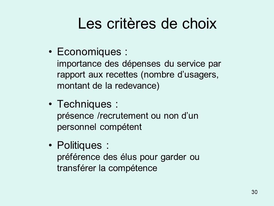 30 Les critères de choix Economiques : importance des dépenses du service par rapport aux recettes (nombre dusagers, montant de la redevance) Techniqu
