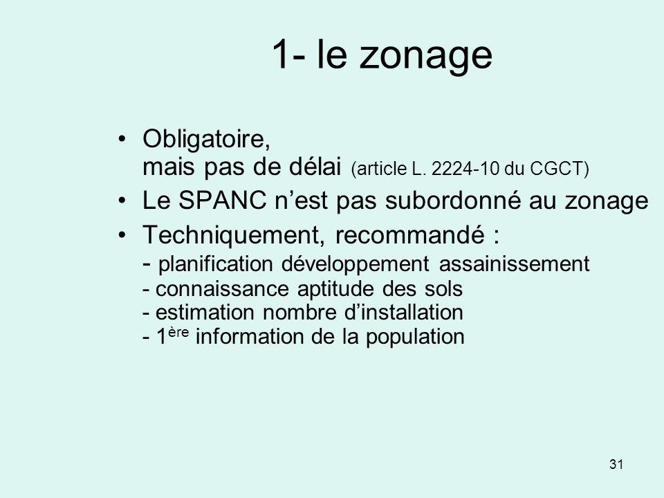 31 1- le zonage Obligatoire, mais pas de délai (article L. 2224-10 du CGCT) Le SPANC nest pas subordonné au zonage Techniquement, recommandé : - plani
