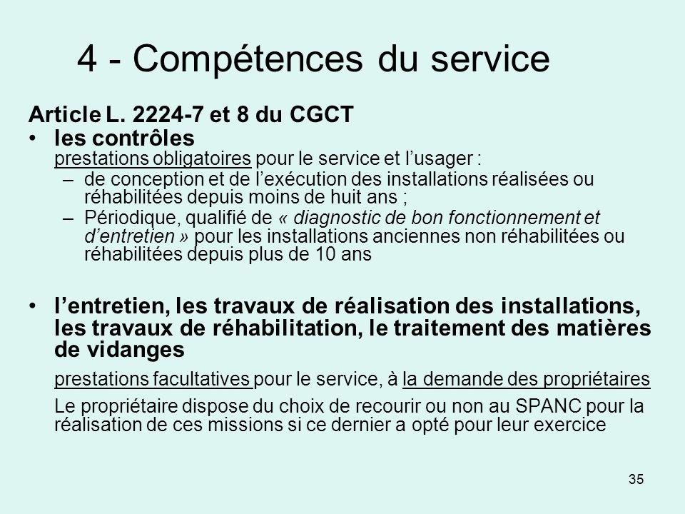 35 4 - Compétences du service Article L. 2224-7 et 8 du CGCT les contrôles prestations obligatoires pour le service et lusager : –de conception et de